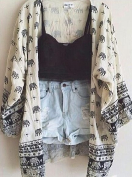 crop tank high waisted denim shorts sweater elephant, sweatshirt, thin shorts tank top jacket