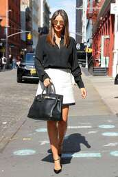 skirt,miranda kerr,model off-duty,black and white,celebrity