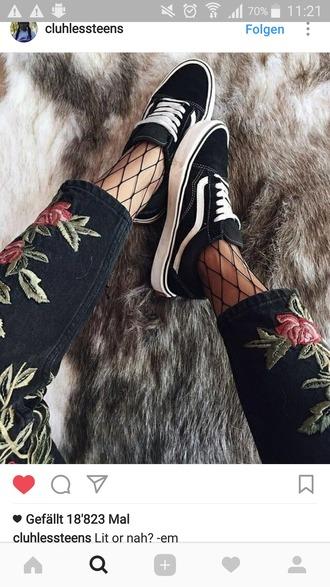 jeans pants flowers black pink