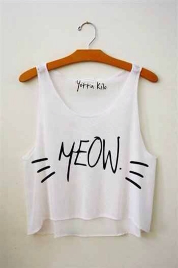 tank top top t-shirt white meow white tank top cats cute cats bob marley infinite shirt tank top tank top cats white shirt weheartit black cropped girly summer spring blouse crop tops