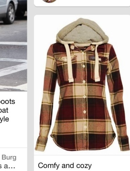 jacket hoodie plaid jacket button up