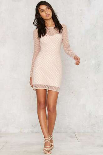 dress mesh pink sheer long sleeve dress wedding clothes grunge