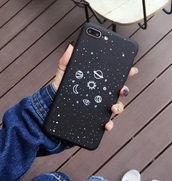 phone cover,black,i phone case,iphone,stars,galaxy print