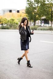 theclosetheroes,blogger,dress,jacket,perfecto,black leather jacket,gucci shoes,ankle boots,velvet dress,winter date night outfit,date outfit,velvet,blue dress,leather jacket