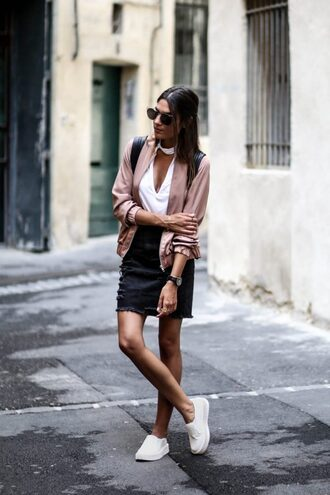 jacket white top pink bomber jacket black skirt white sneakers blogger