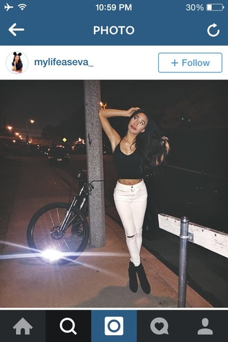 top mylifeaseva white jeans ripped jeans halter neck black top jeans
