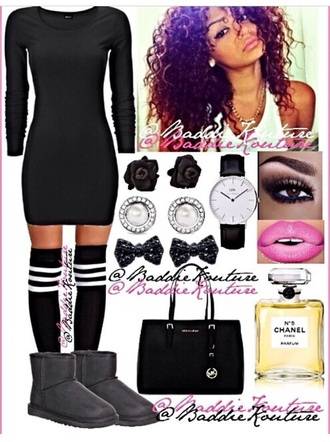 dress black dress knee high socks pink lipstick make-up watch earrings black bow black bag chanel back to school school uniform school girl lulus
