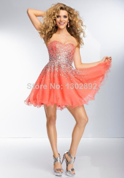orange dress orange cute dress short dresses homecoming dresses beaded short dresses a-line ball gown dresses organza women's fashion