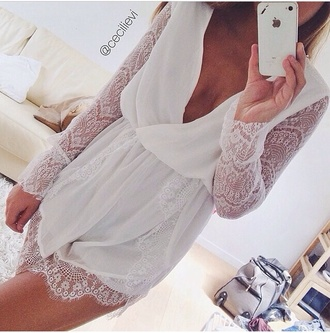 dress white dress cute dress sexy white romper lace romper deep c neck deep v neck deep v neck romper