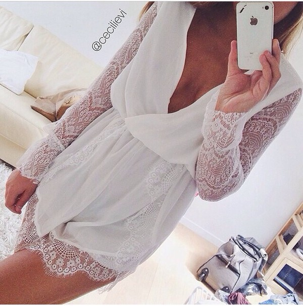 dress white dress cute dress sexy white romper lace romper deep c neck plunge v neck deep v neck romper