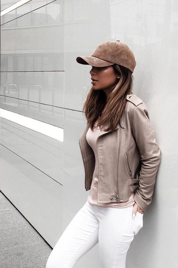 Kim Kardashian wearing Beige Duster Coat, Tan Crew-neck T
