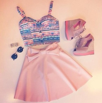 tank top aztec bralette skater skirt pink bow ribbon teenagers skirt shoes dress