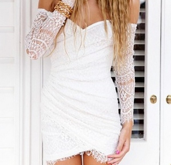 dress white lace sleeves short cocktail dress strapless