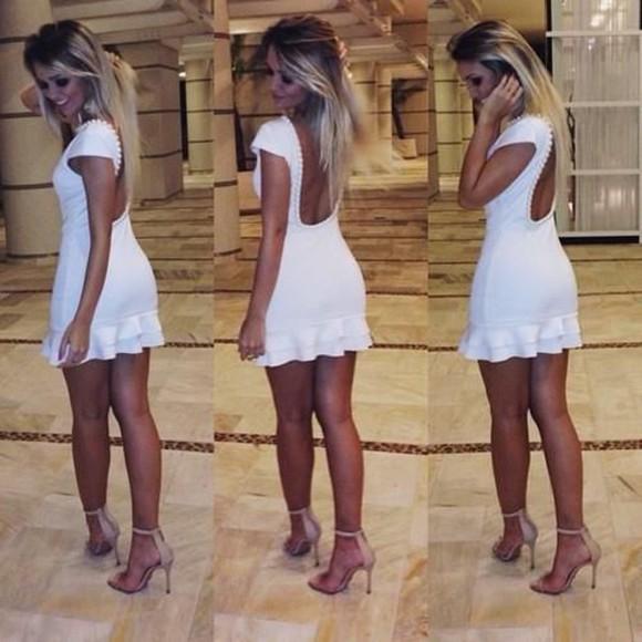dress backless white dress