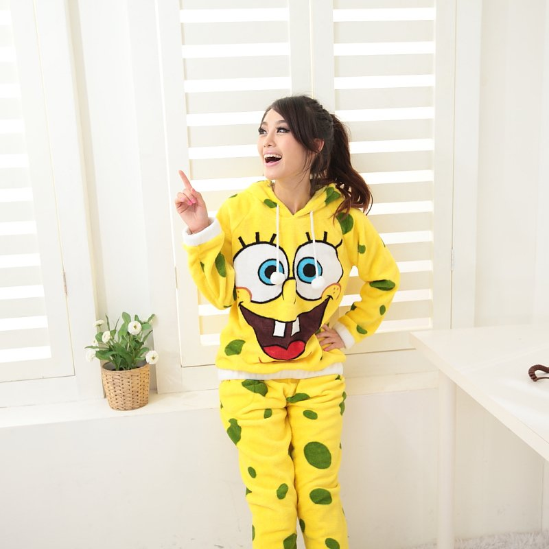Coral Velvet Hooded SpongeBob Women Pajamas, Women's Pajamas Sets, Free Shipping, Shirt   Pants-inPajama Sets from Apparel & Accessories on Aliexpress.com