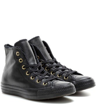 high sneakers leather black shoes