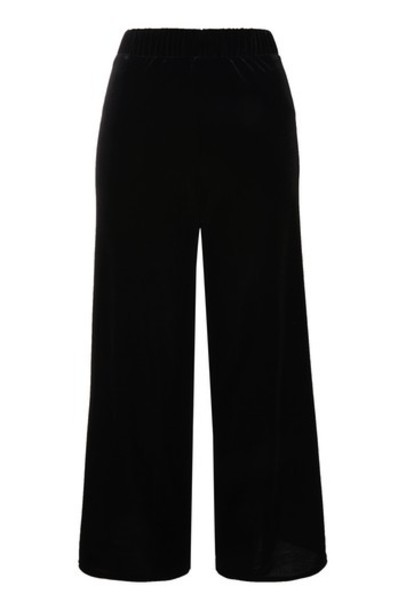 cropped black velvet pants