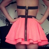dress,short,zip,open back,skirt,pink,cut-out dress,neon,girl,clothes,back,black,party,backless,sexy,summer,summer dress,ruffle,short dress,girly,mini dress,backless dress,pink dress,short pink dress,zipper dress,neon pink,neon pink dress,skater skirt,nice,dressy,prom dress,black and pink,cute dress,summer outfits,strapless,strapless dress,cocktail dress,bandeau,dos nu,cut off shorts,short party dresses,cut-out,strappy,zip up,coral pink