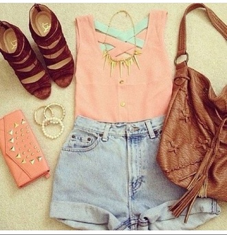 shirt bag jeans pink and blue shorts bracelets purse leather bag necklace high heels jewels