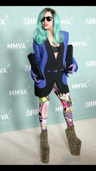 lady gaga artpop jacket black and blue contrast