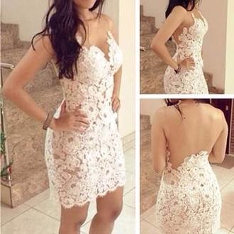 dress white dress white lace dress lace flower cute v neck dress