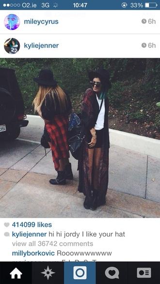 cardigan kylie jenner hat bag black purse bohemian kimono long kimono boho jordyn woods
