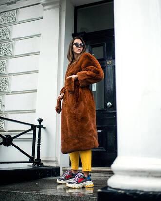 coat tumblr brown coat fuzzy coat teddy bear coat pants sneakers sunglasses