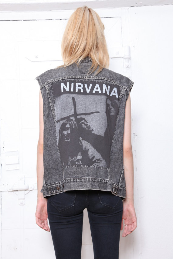 90s Oversized Levi's Jean Vest with Nirvana by tarantulasisters