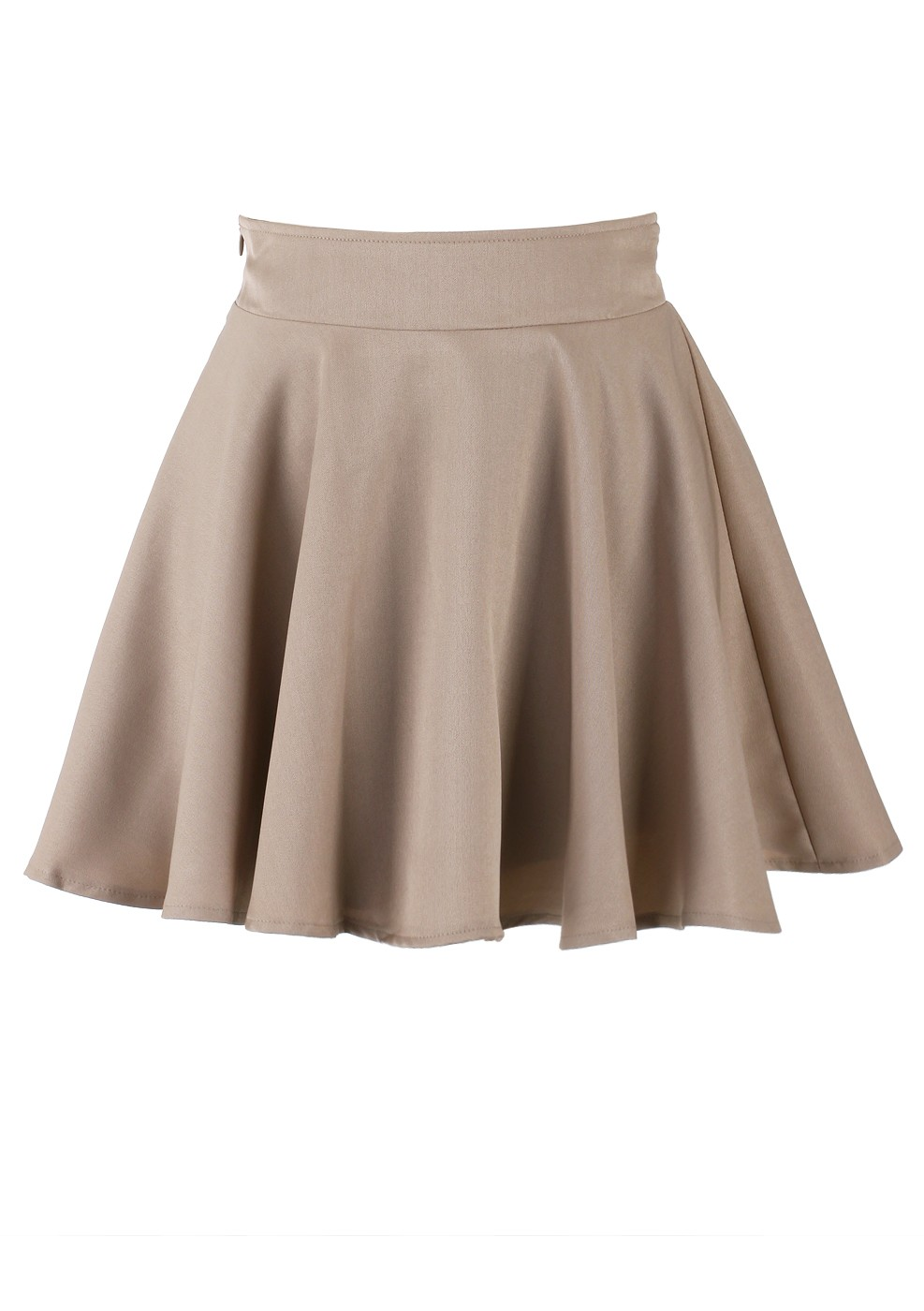 Pencil/High Waist Skirt - Khaki Skater High Waist Skirt | UsTrendy