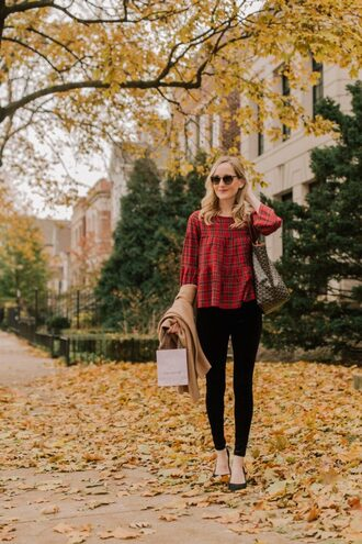 kelly in the city - a preppy chicago life style and fashion blog blogger leggings jeans pajamas shoes sweater jacket tank top top coat tote bag red top fall outfits