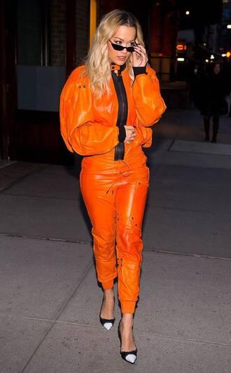 pants rita ora orange jacket pumps two-piece shoes celebrity style