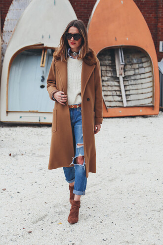 prosecco and plaid blogger winter coat long coat cable knit rust ripped jeans winter outfits lifestyle coat shoes camel long coat