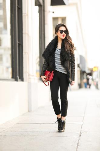 jacket jewels bag blogger top sunglasses wendy's lookbook