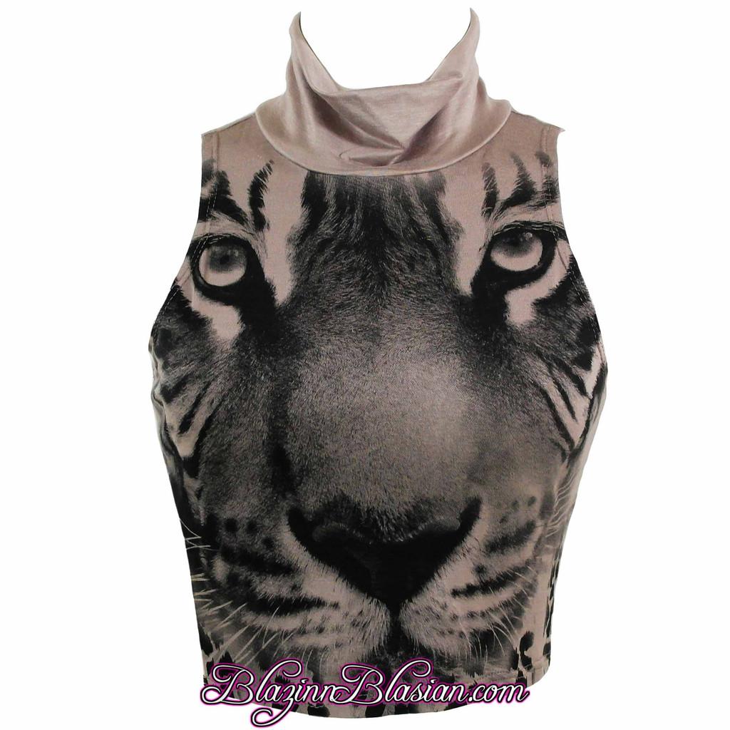 Dark Khaki Graphic Tiger Turtle Neck Crop Top at BlazinnBlasian – Lush Fashionz