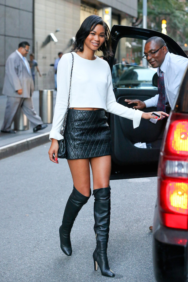 fall outfits skirt chanel iman boots over the knee boots top