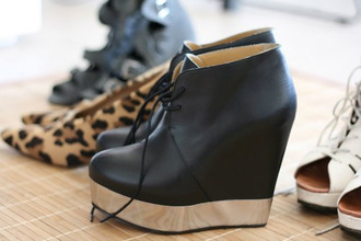 shoes black wedges heels leather casual dress up gold