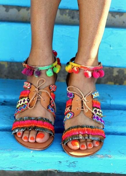 fcde52924f8 shoes sandals summer shoes boho boho sandals colorful beach shoes