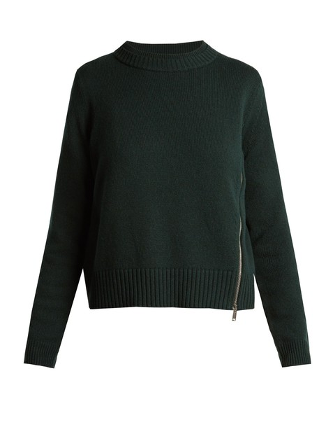 Proenza Schouler sweater zip silk wool dark green