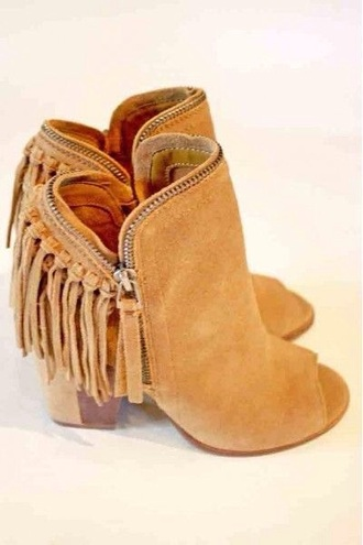 shoes peep toe peeptoe boot heels brown booties faux leather suede shoes fringes