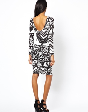 Lipsy | Lipsy Body-Conscious Dress in Symmetrical Geo Print at ASOS