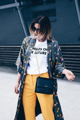 t-shirt kimono floral kimono pants yellow pants blogger blogger style slogan t-shirts crossbody bag