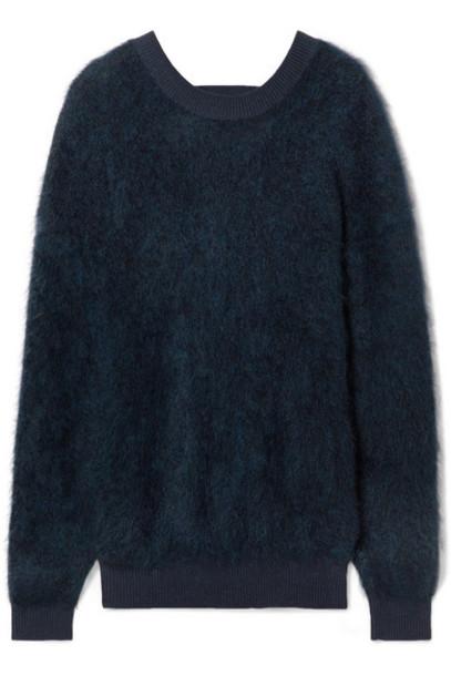 Mugler - Cutout Brushed Knitted Sweater - Navy