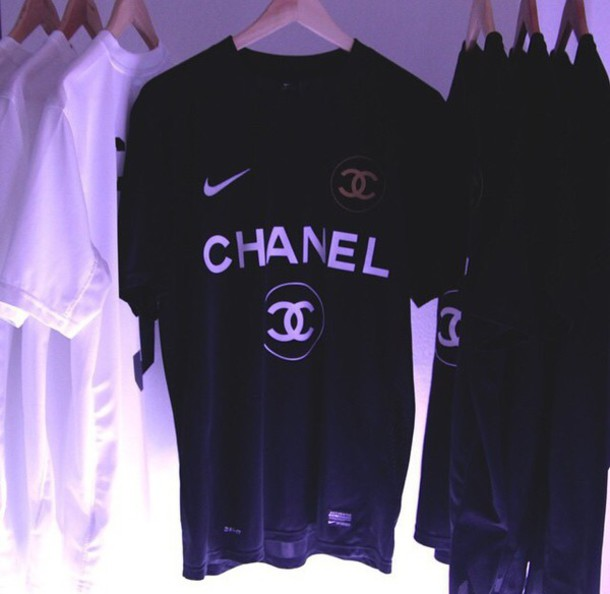 t-shirt chanel inspired nike menswear tumblr blvck