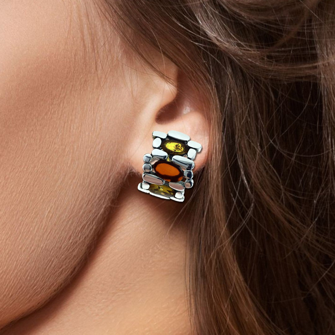Baltic Amber Sterling Silver Earring