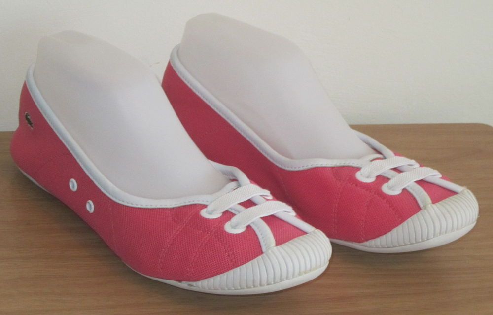 Lacoste Ladies Flat Pink White Canvas Shoes UK Size 5 5 39 | eBay
