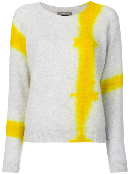 SUZUSAN jumper women tie dye knit grey sweater