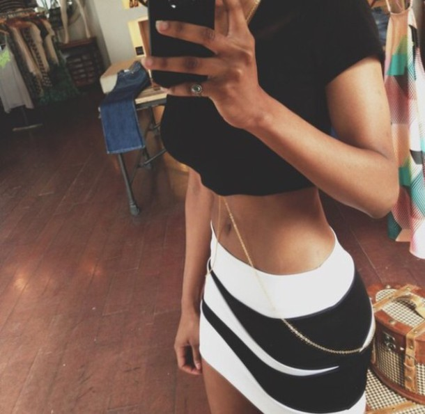skirt black and white bandage skirt jewels