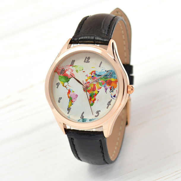 Jewels rose gold rose gold watch map watch watercolor map world jewels rose gold rose gold watch map watch watercolor map world map watch womens watch watches gumiabroncs Image collections