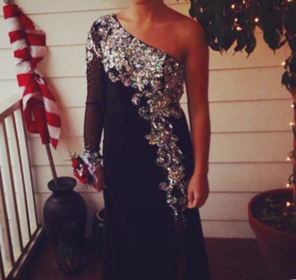 dress black dress crystals prom dress one sleeved dress one shoulder prom dresses prom dress prom dress black prom dress