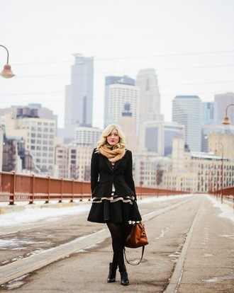 olivia shutey blogger black jacket fur scarf skater dress leather bag jacket scarf sweater dress shoes bag